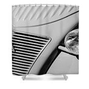 1956 Citroen 2cv Grille -0081bw Shower Curtain