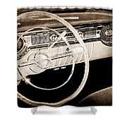 1956 Oldsmobile Starfire 98 Steering Wheel And Dashboard Shower Curtain