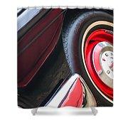 1957 Ford Fairlane Convertible Wheel Emblem Shower Curtain