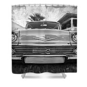 1958 Chevrolet Bel Air Impala Painted Bw  Shower Curtain