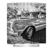 1967 Plymouth Belvedere Gtx 440 Painted Bw Shower Curtain