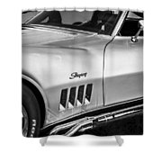 1969 Chevrolet Corvette 427  Bw Shower Curtain