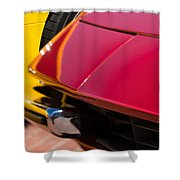 1971 Ferrari 365 Gtb-4 Daytona Spyder Hood Emblem Shower Curtain