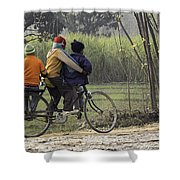 3 Young Children On A Cycle At The Side Of The Road Shower Curtain