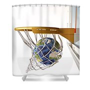 3d Rendering Of Planet Earth Falling Shower Curtain by Leonello Calvetti
