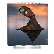 A 3d Conceptual Image Of The World Shower Curtain
