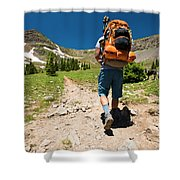 A Backpacker Hiking Shower Curtain
