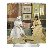 A Friendly Call Shower Curtain by William Merritt Chase