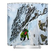A Man Alpine Climbing A Ridgeline Shower Curtain
