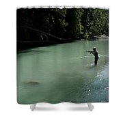 A Man Casts In A River Wearing Waders Shower Curtain