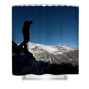A Man Hikes The Boott Spur Link Shower Curtain