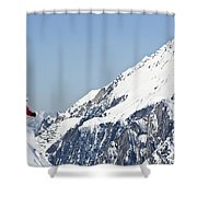 A Man Skis Untracked Powder Off-piste Shower Curtain