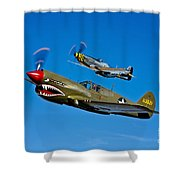 A P-40e Warhawk And A P-51d Mustang Shower Curtain