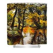 A River Landscape In Springtime Shower Curtain