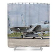 A Royal Saudi Air Force F-15c At Nancy Shower Curtain