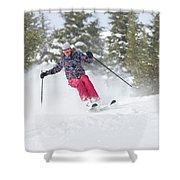 A Skier Descends A Snowy Slope Shower Curtain