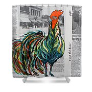 A Well Read Rooster Shower Curtain