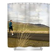 A Woman Out For A Jog In The Country Shower Curtain