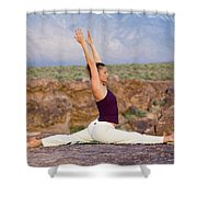 A Woman Practicing Yoga On A Dry Lake Shower Curtain