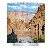 A Woman Sits By The Colorado River Shower Curtain
