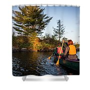 A Young Couple Paddles A Canoe On Long Shower Curtain