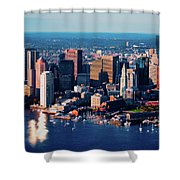 Aerial Morning View Of Boston Skyline Shower Curtain