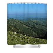Aerial View Of Mountain Range Shower Curtain