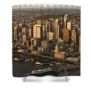Aerial View Of Seattle Skyline Along Waterfront Shower Curtain