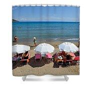 Agia Marina Beach Shower Curtain