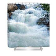 Alluvial Fan Falls On Roaring River In Rocky Mountain National Park Shower Curtain