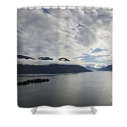 Alpine Lake With Islands Shower Curtain