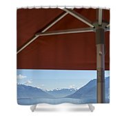 Alpine Lake With Parasol Shower Curtain