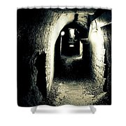 Altered Image Of A Tunnel In The Catacombs Of Paris France Shower Curtain