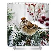 Christmas Sparrow Shower Curtain