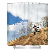 An Adult Male Trail Running Shower Curtain
