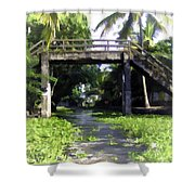 An Old Stone Bridge Over A Canal Shower Curtain