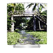 An Old Stone Bridge Over A Canal In Alleppey Shower Curtain