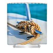 Anchor Line Shower Curtain by Laura Fasulo