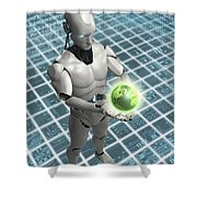 Android Holding Globe Shower Curtain