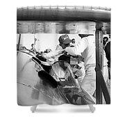 Art Arfons In Cockpit Of Green Hornet Shower Curtain
