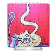 Art Cat Shower Curtain