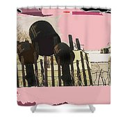 Art Homage Andrew Wyeth Bucket Fence Collage Near Aberdeen South Dakota 1965-2012 Shower Curtain