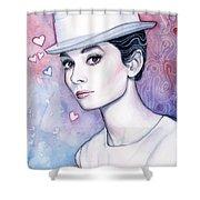 Audrey Hepburn Fashion Watercolor Shower Curtain