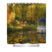 Autumn Gazebo Shower Curtain by Joann Vitali
