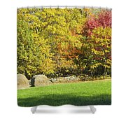 Autumn Hay Being Harvested In Maine Shower Curtain