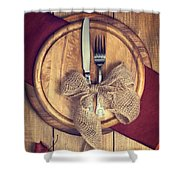 Autumn Table Setting Shower Curtain