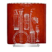 Banjo Patent Drawing From 1882 - Red Shower Curtain