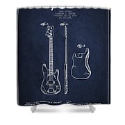 Bass Guitar Patent Drawing From 1960 Shower Curtain