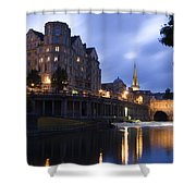 Bath City Spa Viewed Over The River Avon At Night Shower Curtain