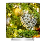 Bauble In A Christmas Tree  Shower Curtain